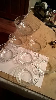 """Lovely Vintage Arcoroc? French Galss Fruit/Trifle Bowl + 6 Dish 8"""" & 5"""" Diameter"""