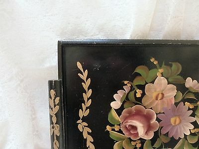 Vtg BLACK WOOD TOLE TOLEWARE SERVING TRAY Gold Accents Rose Flowers Floral CHIC!