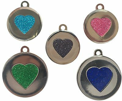 Custom Pet Tags Heart Glitter Engraved Pet 25/32mm DOG CAT ID Disc Disk FREE P&P