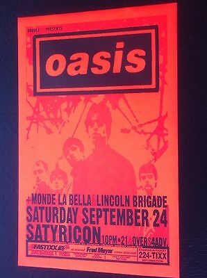 Oasis EARLY USA Club $4cover! Liam Noel Liam Gallagher Concert Tour Gig Poster