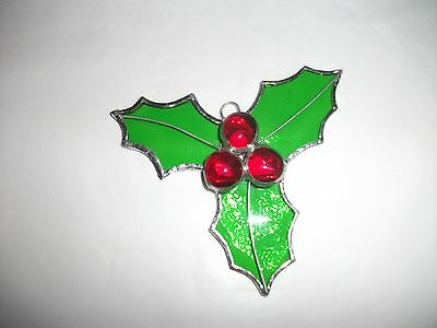 Handmade Stained Glass christmas decoration holly and berry's