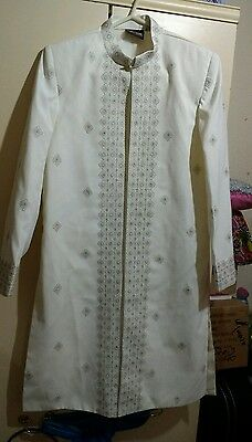 Boys cream indian party wedding sharwani sz 24 to fit 9 to 11 years