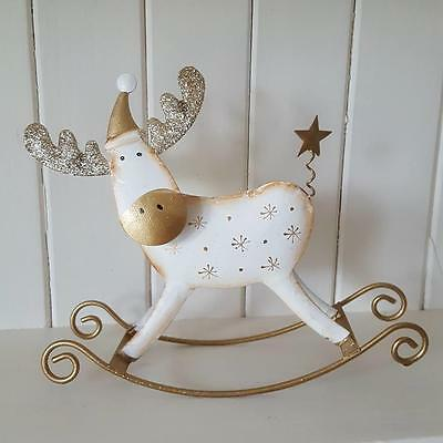Cream & Gold Glittery Metal Rocking Reindeer Chic N Shabby Christmas Decoration