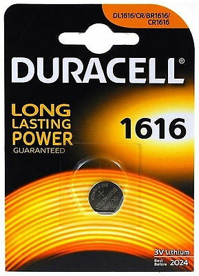 2x Duracell 1616 3V Lithium Coin Cell Batteries CR1616/DL1616 Battery