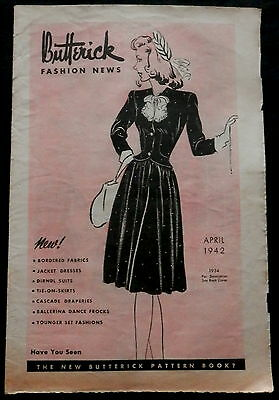 BUTTERICK FASHION NEWS Advertising THE FAIR New Britain Flyer April 1942