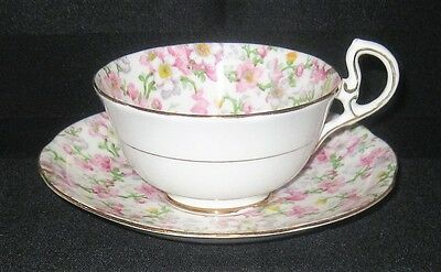 Vintage Royal Standard May Medley Pink Chintz Cup & Saucer Set Excellent Cond