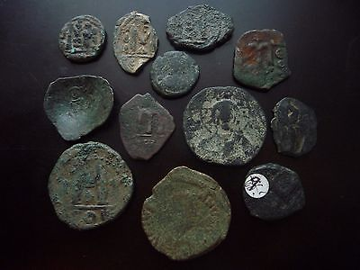 Byzantine bronze follis coins lot x 12