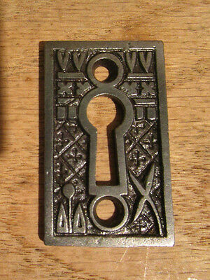 Antique Lockwood Broken Leaf Victorian Eastlake Door Lock KEY HOLE COVER Plate