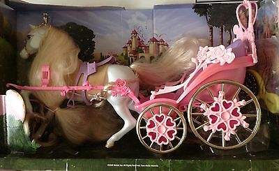 """Barbie 2002 Rapunzel Botticelli And Carriage over 20"""" Long NIB"""