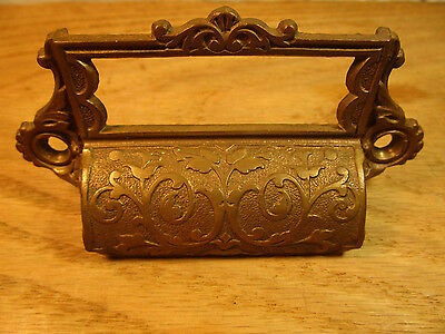 Ornate Bronze Brass Bin Pull Drawer Handle Antique Victorian Label Name Holder