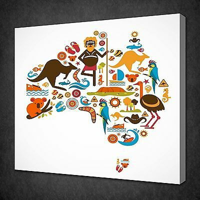 Australia Symbols Map Modern Canvas Wall Art Picture Print Ready To Hang