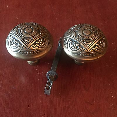 Antique Victorian Pair Of Corbin Vernacular Brass DoorKnobs Salvage Hardware