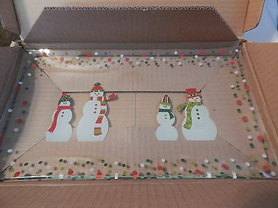 New The Pampered Chef Snowmen-Dots Divided Platter