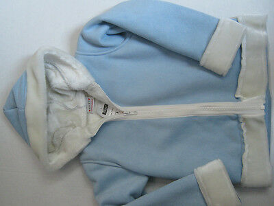 New Next Jacket Age 6 Girls Baby Blue Colour Suede And White Fur Lined Look