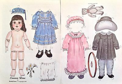 Emma Rose Antique Doll Paper Doll by Brenda Power, 1990, Mag. PD