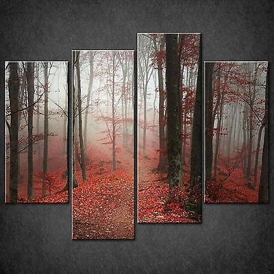 Red Autumn Foggy Day Forest Cascade Canvas Wall Art Print Picture Ready To Hang