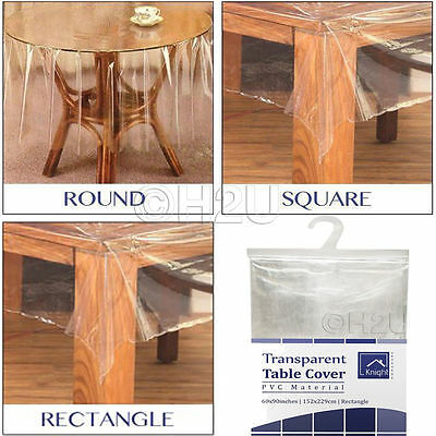 Transparent Wipe Clean Pvc Vinyl Tablecloth Dining Kitchen Table Cover Protector