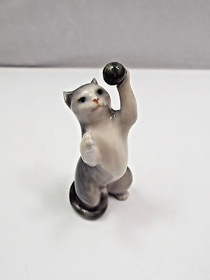 Discontinued Very Old Rare Royal Copenhagen Figurine #2224 Cat with Ball