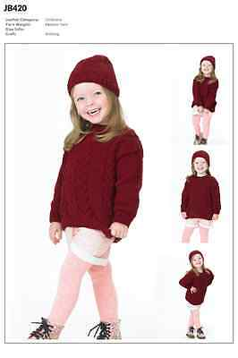 James C Brett Girls Jumper & Hat Twisted Fashion Yarn Knitting Pattern JB420
