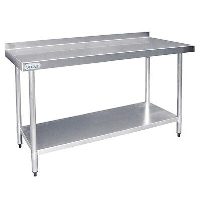 Vogue Stainless Steel Prep Table with Upstand 1500mm UP£220