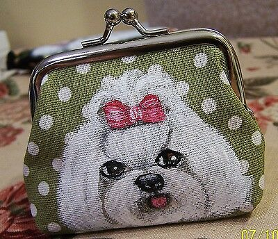 "Maltese dog original art real brush painting small change purse size  3""x4""x1"""