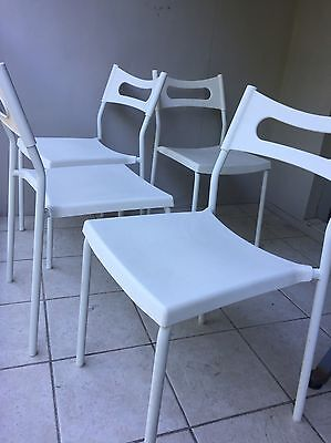 White Outdoor Patio Chairs Seats Set Of 4 Stackable