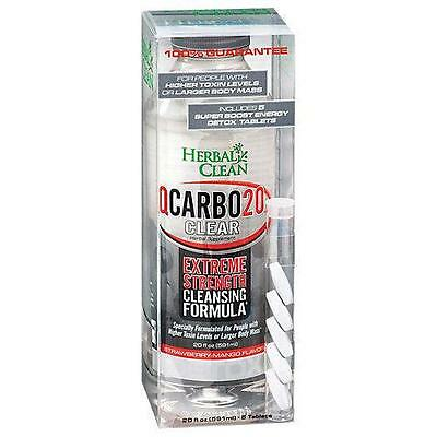 NEW Herbal Clean Qcarbo Clear Detox Liquid Strawberry/Mango w/Energy Tablets