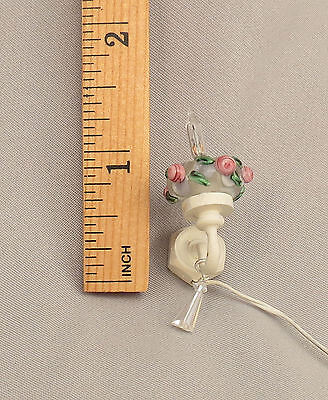 Dollhouse Miniature White Shabby Chic Pink Roses Crystal Tulip Sconces Lot of 2