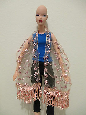 pink sheer embroidered shawl shoulder wrap for barbie or integrity doll