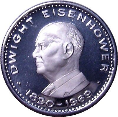 Ras Al Khaimah 1970 10 Riyals Silver Coin ~ Eisenhower - Gem Proof - Low Mintage
