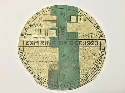 1923 Tax Disc Vintage Expired Dec Extremely Rare