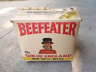 Vintage Empty Shipping Box. Beefeater Gin Of England. Cardboard With Labels.
