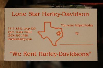 Lone Star Tyler Texas Motorcycles Business Card Harley Davidson