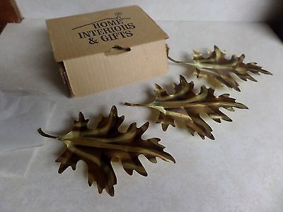 Vintage Home Interiors / Homco Set of 3 Brass Leaves Wall Hangings