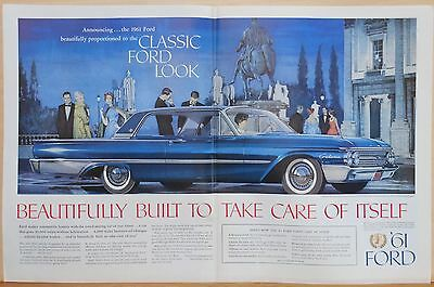 1960 double page magazine ad for Ford - 1961 Blue Galaxie Club Victoria in Rome