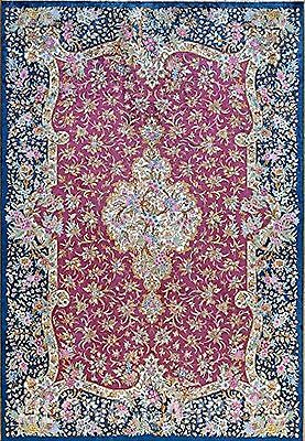 Dollhouse Miniature Pink and Blue Floral Computer Printed Rugs 1:12 Cotton