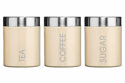 Beautiful Set of 3 Tea Coffee Sugar Canisters in Cream suitable for any Kitchen