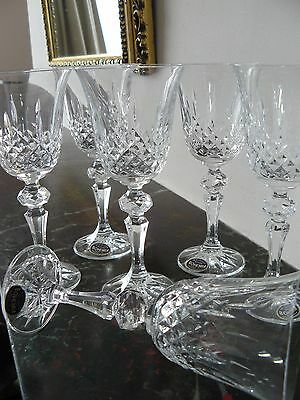 Set 6 BOHEMIA 24% Lead Cut Crystal Glass Wine Port Sherry Glasses New in Box
