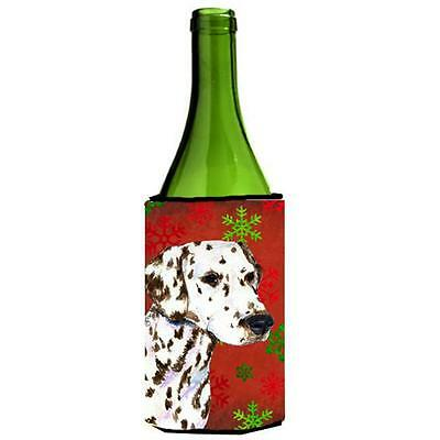Dalmatian Red And Green Snowflakes Holiday Christmas Wine bottle sleeve Hugge...