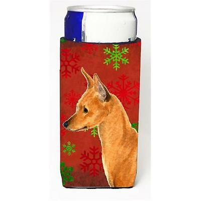 Min Pin Red And Green Snowflakes Holiday Christmas Michelob Ultra bottle slee...