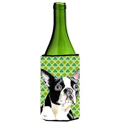 Boston Terrier St. Patricks Day Shamrock Portrait Wine bottle sleeve Hugger 2...