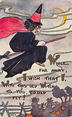 Halloween Postcard Witch Flying Over a Farm Field~108643