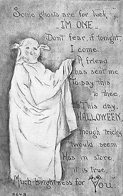 Halloween Postcard Ghosts Are For Luck Not Fear Poem~108642