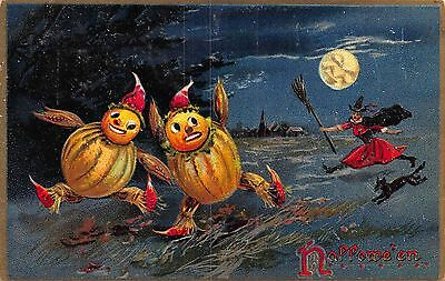 Halloween Postcard Witch Chasing Fantasy Vegetable Men Through a Field~108632
