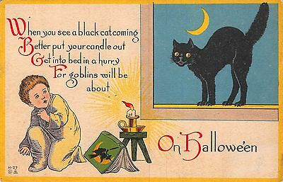 Halloween Postcard Boy with Witch Book is Scared of Scared Black Cat~108641