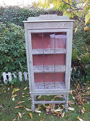 Vintage Art Deco Glazed Shabby Chic Display Cabinet Leaded Door With Key
