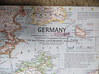 "Vintage 1959 National Geographic Map - Germany - 19"" x 25"""