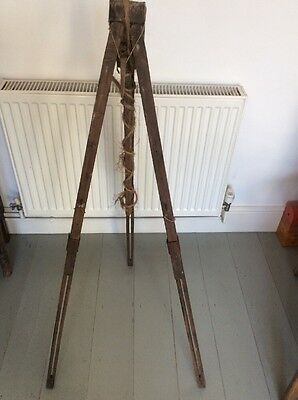 Antique Vintage Unique Folk Art Hand Made Wooden Easel Tripod Display Stand