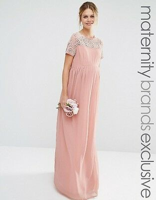 Maya Maternity Pleated Maxi Evening Dress With Pearl Embellishment Pink UK 8