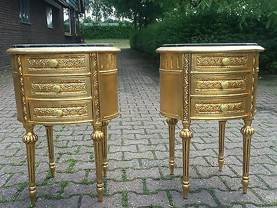Set Of 2 Night Stands/side Tables In Gold With Marble Top